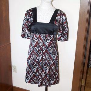 Trina Turk Black Maroon Geometric Empire Dress 2